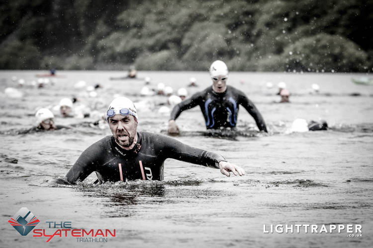 slateman swim exiting water
